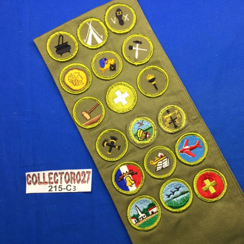 Boy Scout Merit Badge Sash With 18 Merit Badges