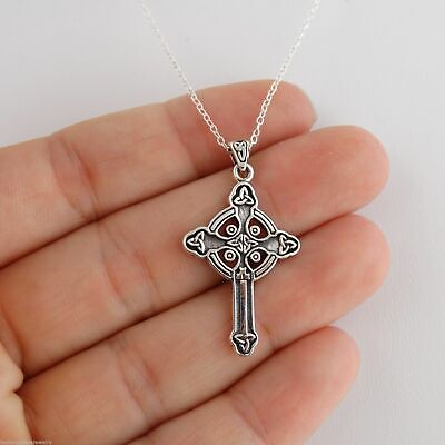 Celtic Trinity Cross Necklace - 925 Sterling Silver - Irish Celtic Cross Pendant (Sterling Silver Irish Celtic Cross)