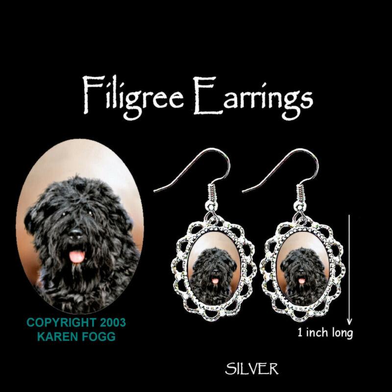 BOUVIER DES FLANDERS DOG - SILVER  FILIGREE EARRINGS Jewelry