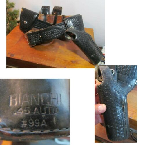 Vintage Leather Police Man Duty Belt Left Handed .45 Auto Bianchi #99A FM.Pitt