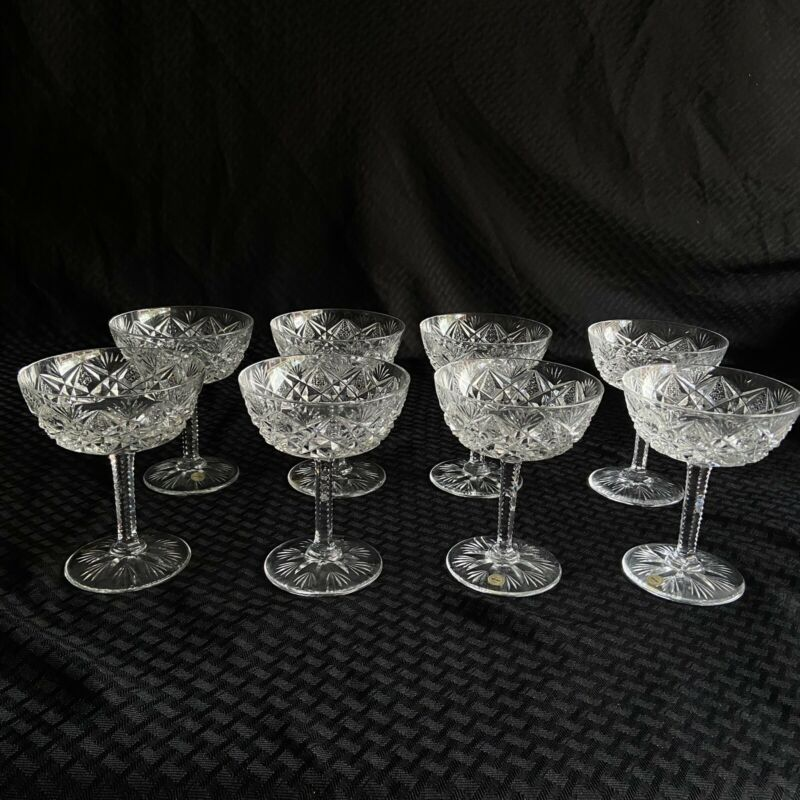 St Louis Crystal Lot of 8 Sherbet / Champagne Glasses Florence Pattern