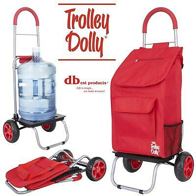 Dbest Products Trolley Dolly Red Shopping Grocery Foldable Cart