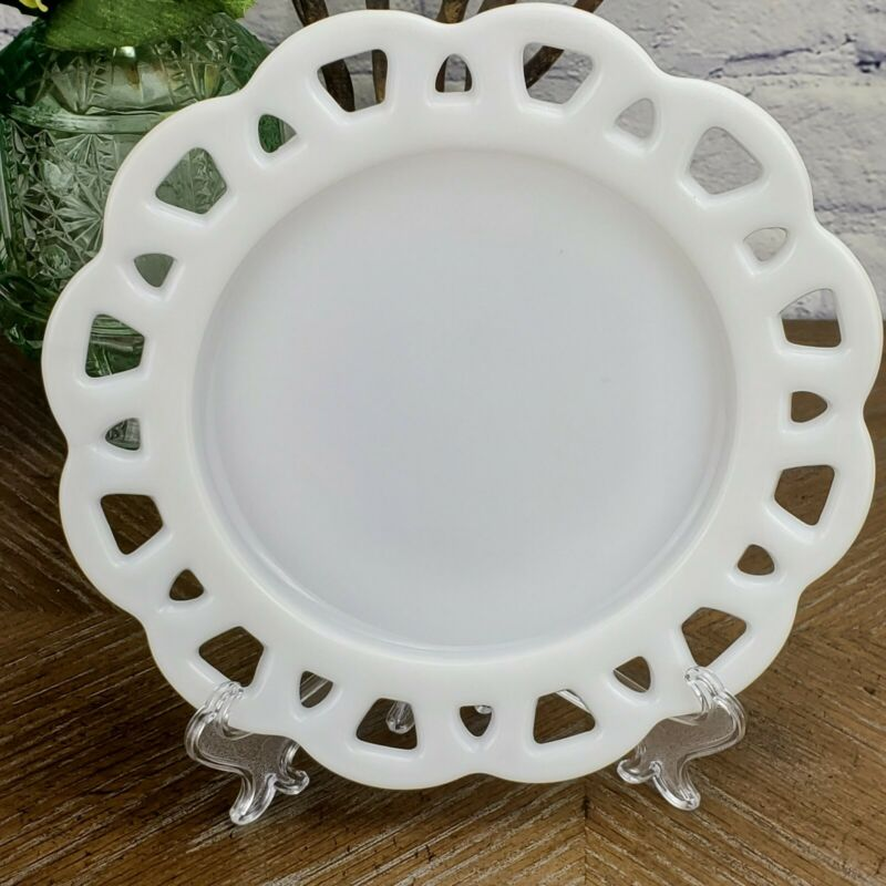 """8"""" Anchor Hocking White Milk Glass Old Colony Lace Open Edge Salad Plate"""