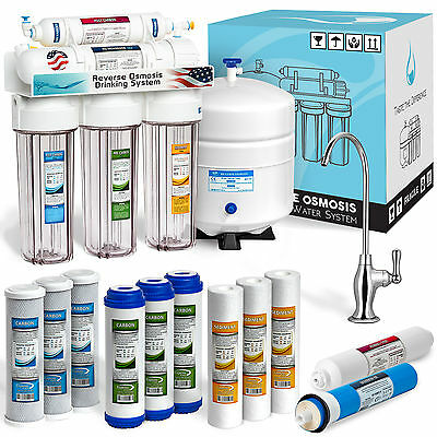 5 Stage Home Drinking Reverse Osmosis System Plus 7 Express Water Filter - Clear