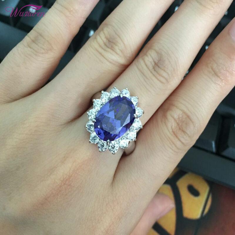 Wuziwen 925 Sterling Silver Blue Tanzanite White AAAAA Cz Gemstone Cocktail Ring