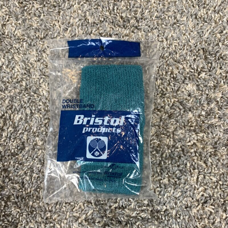 New In Package Vintage Bristol Products Tennis Double Wristband Teal Made In USA