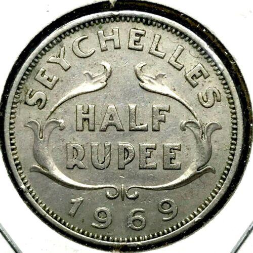 1968 SEYCHELLES HALF RUPEE  HIGH GRADE AU/MS - GORGEOUS COIN ! KM#12