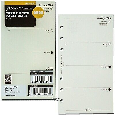 2020 Filofax Personal Size Refill 20-68424 Cotton Cream Week On Two Pages