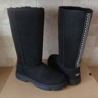 Used, UGG ULTIMATE TALL TASMAN BRAID BLACK  SUEDE SHEEPSKIN BOOTS SIZE US 7 WOMENS  for sale  Oxnard