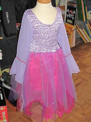 NoaPoa Kostüm für Kinder ELFE Elfenkostüm Kleid lila pink mit Pailletten Glitzer