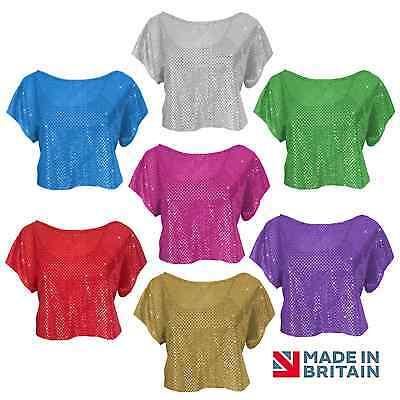 Childrens Ladies Sequin Top '70s Sparkle Dancewear Fancy Dress, Crop Top UK made