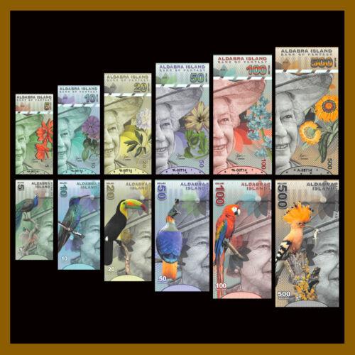Aldabra Islands 5 10 20 50 100 500 Dollars (6 Pcs Full Set), 2018 QEII Polymer