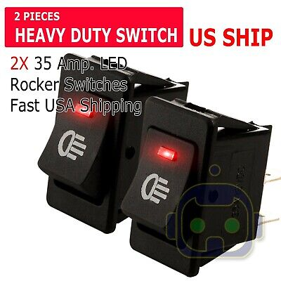 2x Red Led 12v 35amp Heavy Duty Toggle Flick Switch Onoff Car Dash Light Spst