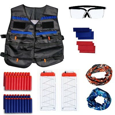 Tactical Vest Kit for Nerf Guns, Includes Team Indicators, Glasses, 2 Masks, 2 M