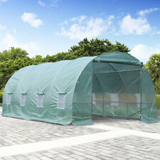 Outsunny 20x10x7ft Garden Warm House Walk-in Large Tunnel Greenhouse Green