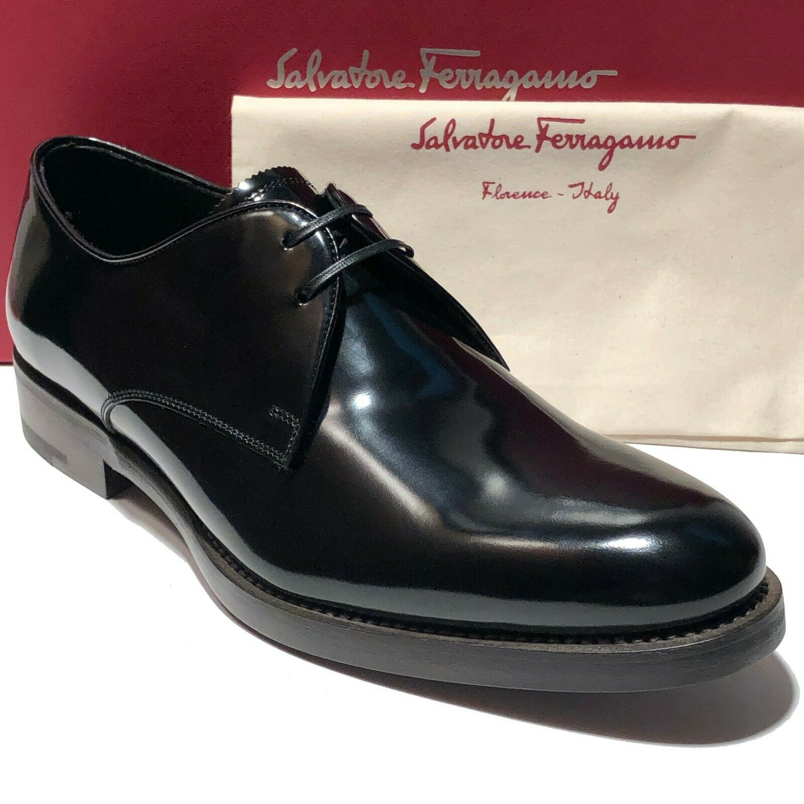 NEW Ferragamo Men's Semi-Patent Leather Black Dress Oxford Tuxedo Wedding Formal
