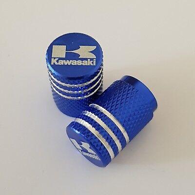 KAWASAKI BLUE Wheel Valves Tire Dust Caps universal Fit Fits all Bikes Set of 2