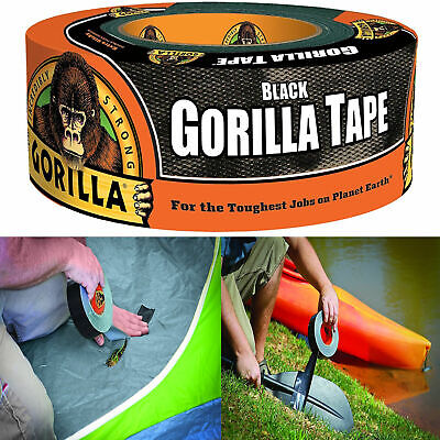 Gorilla Duct Tape Black Repair Heavy Duty Double Thick Outdoor 1.88 X 12 Yd