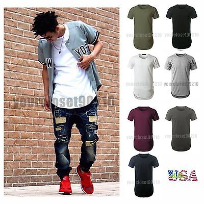 Men's T-Shirt Lot Long Extended Basic Fashion Tee Casual Tee Hip Hop Crew Neck