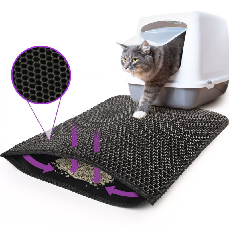 Kitty Cat Litter Mat Trapping Honeycomb Double Layer Design Waterproof 24x15