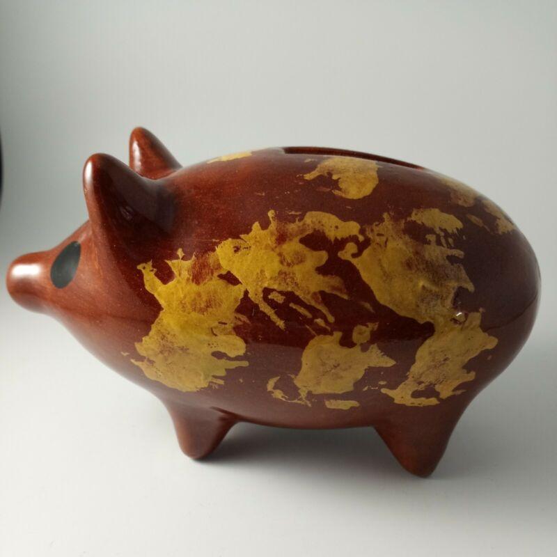 PENNSYLVANIA REDWARE PIGGY BANK PIG SIGNED ON BOTTOM LB 85