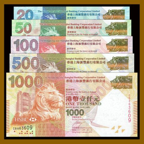 Hong Kong 20 - 1000 (1,000) Dollars (5 Pcs Full Set), 2012-2016 P-212-216 HSCB