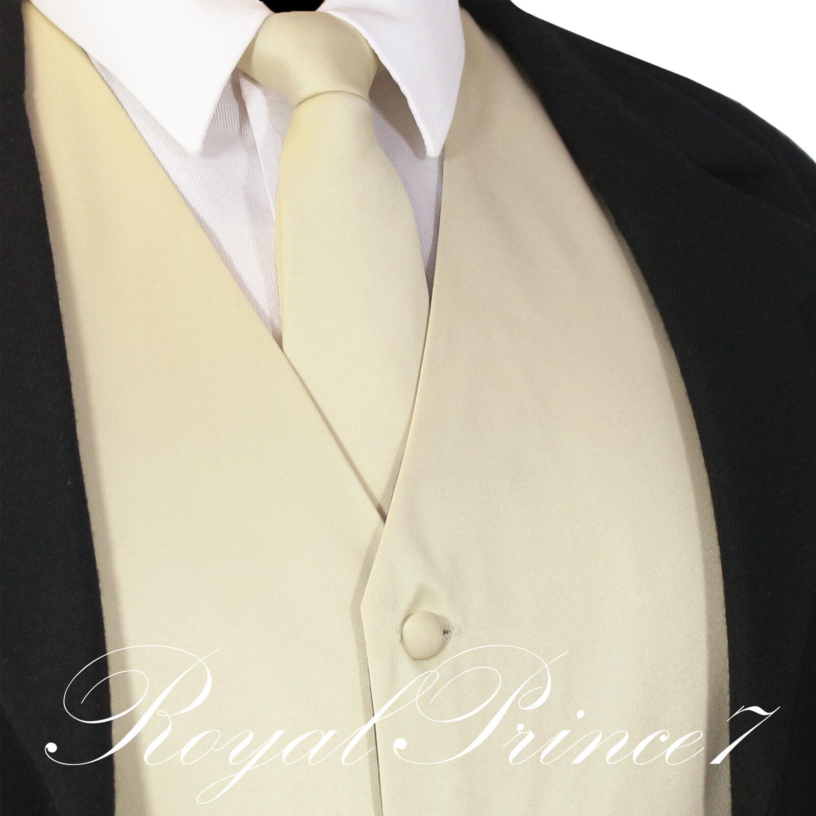 BEIGE XS - 6XL Solid Vest Waistcoat and Neck Tie Suit or Tux