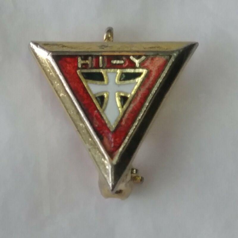 YMCA Official HI - Y Triangle Lapel Hat Jacket Pin Vintage