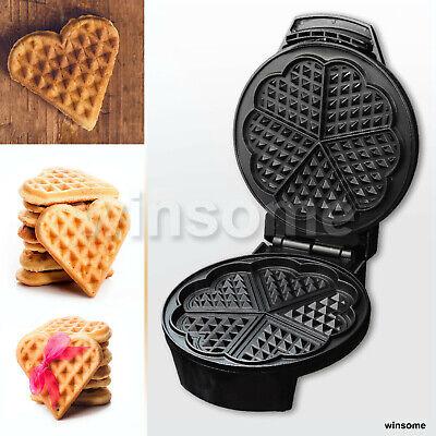 1200W Electric Waffle Maker Machine Non Stick 5 Heart Shape Waffles Temp Control
