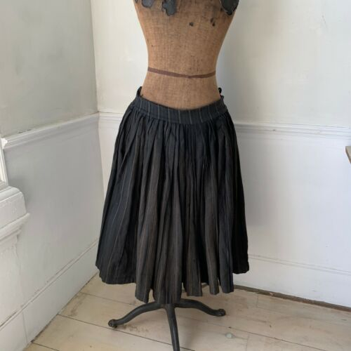 antique French black skirt c 1920 heavy peasant skirt work wear