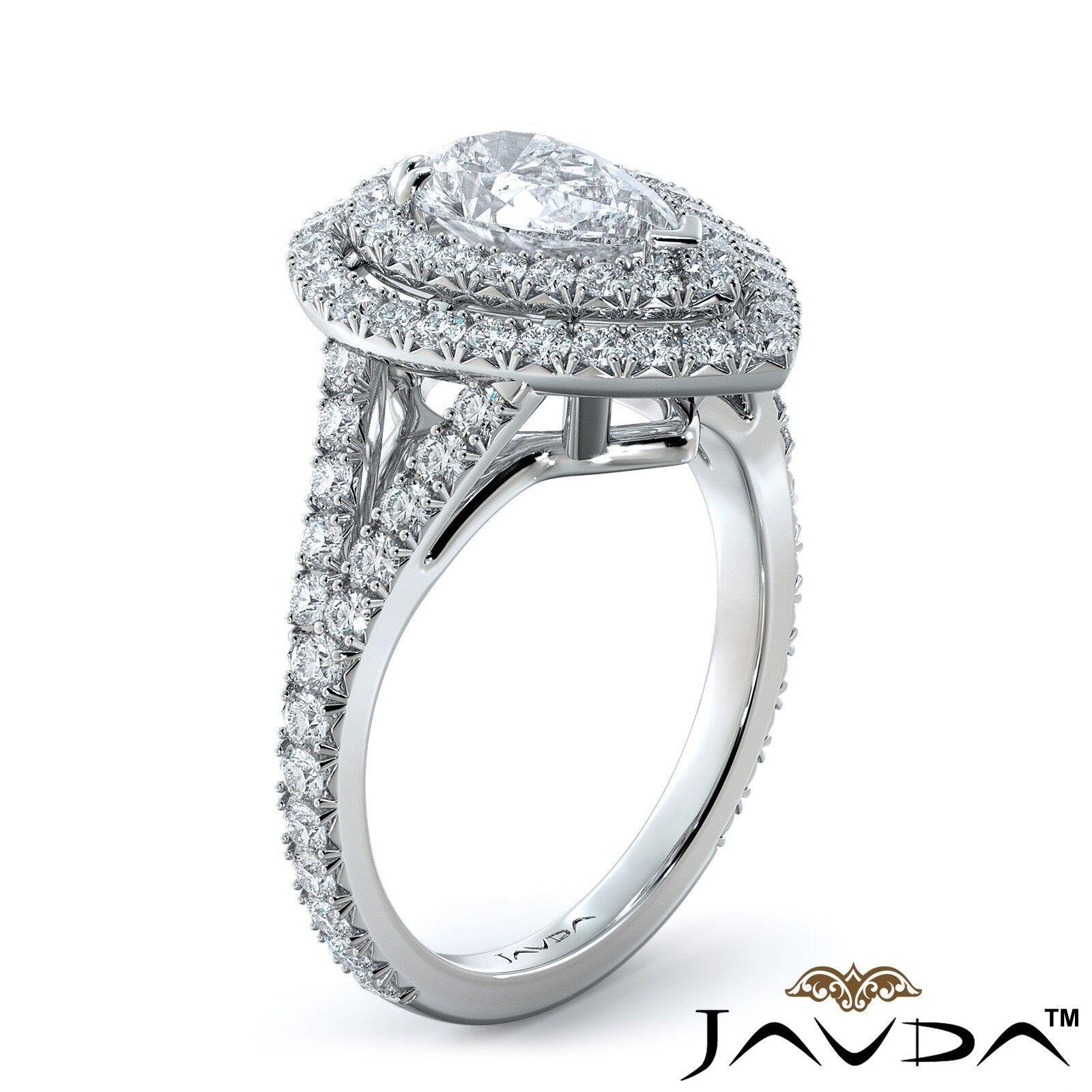 2.12ct Double Halo Split Shank Pear Diamond Engagement Ring GIA E-SI1 White Gold 1