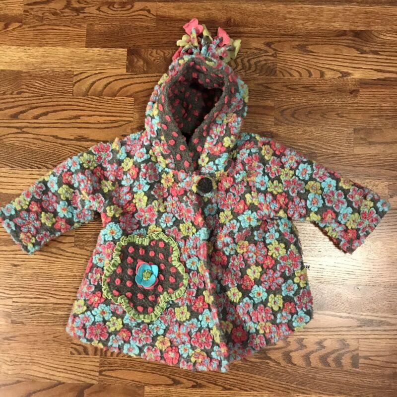 Corky & Company Girls 24 Month Wool Blend Flower Coat Jacket