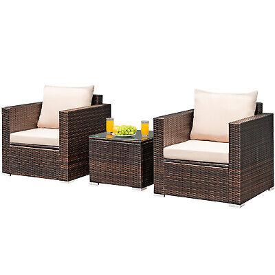 3 pcs patio rattan furniture set conversation