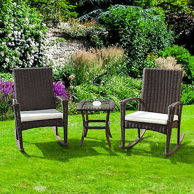 3 PCS Rattan Wicker Patio Furniture Set Coffee Table Rocking Chair Cushioned New (Rattan Set Coffee Table)