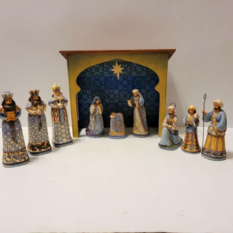 Jim Shore 10 pc Heartwood Creek Blue Nativity Set w Creche #4011886 Christmas