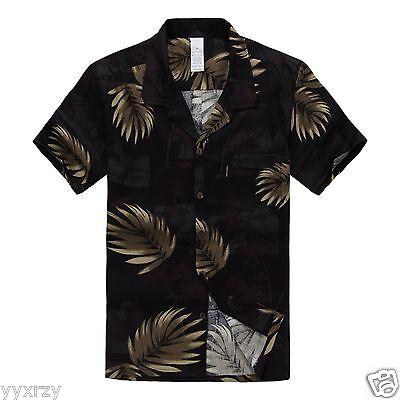Men Aloha Shirt Cruise Tropical Luau Beach Hawaiian Party Black Gold Leaves  (Hawaiian Shirt Party)