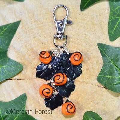 Halloween Pumpkin Patch Bag Charm - Handmade Clay Jewellery Samhain Gothic Witch