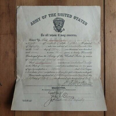 1910 Army of the United States Discharge Papers Fifth Regiment of Infantry Ohio