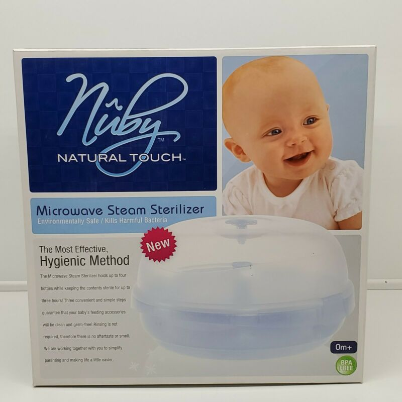 NUBY Microwave Steam Sterilizer for Baby Bottles and Nipples BPA FREE (FE)