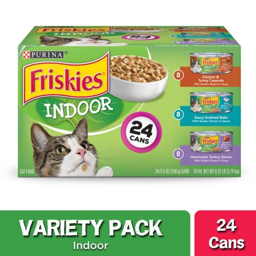 24 Pack  Purina Friskies Indoor Wet Cat Food Variety Pack, Indoor  5.5 oz. Cans