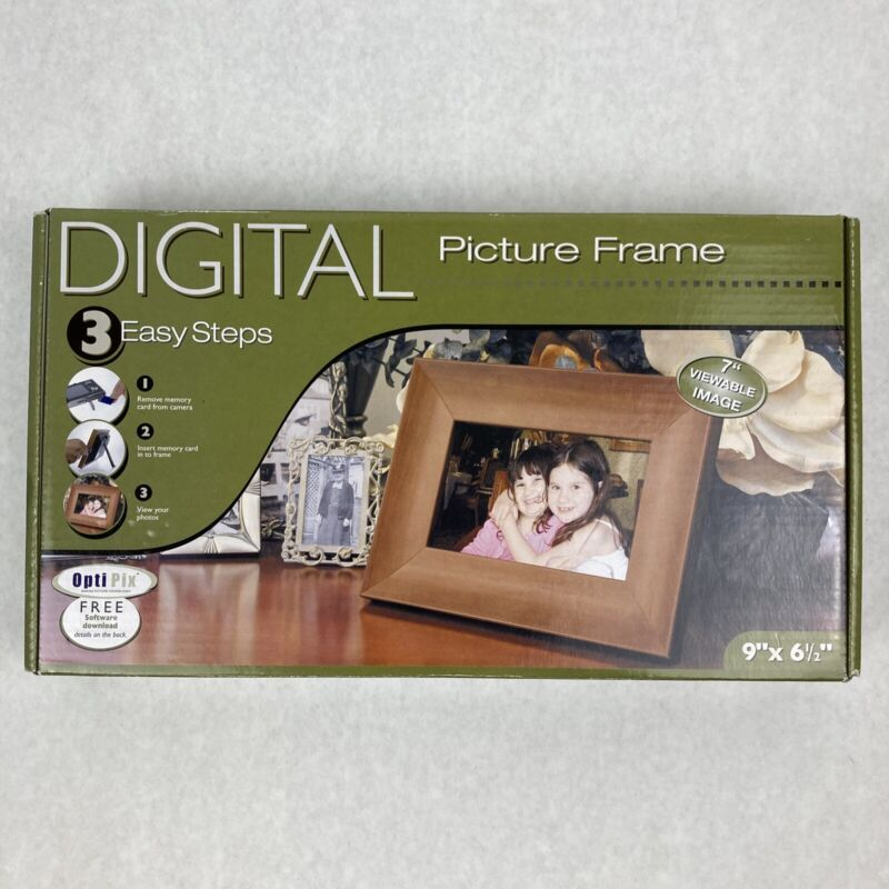 """Smart Parts 9""""X6.5"""" Digital Picture Frame With Free Opti Pix Software, Wood, New"""