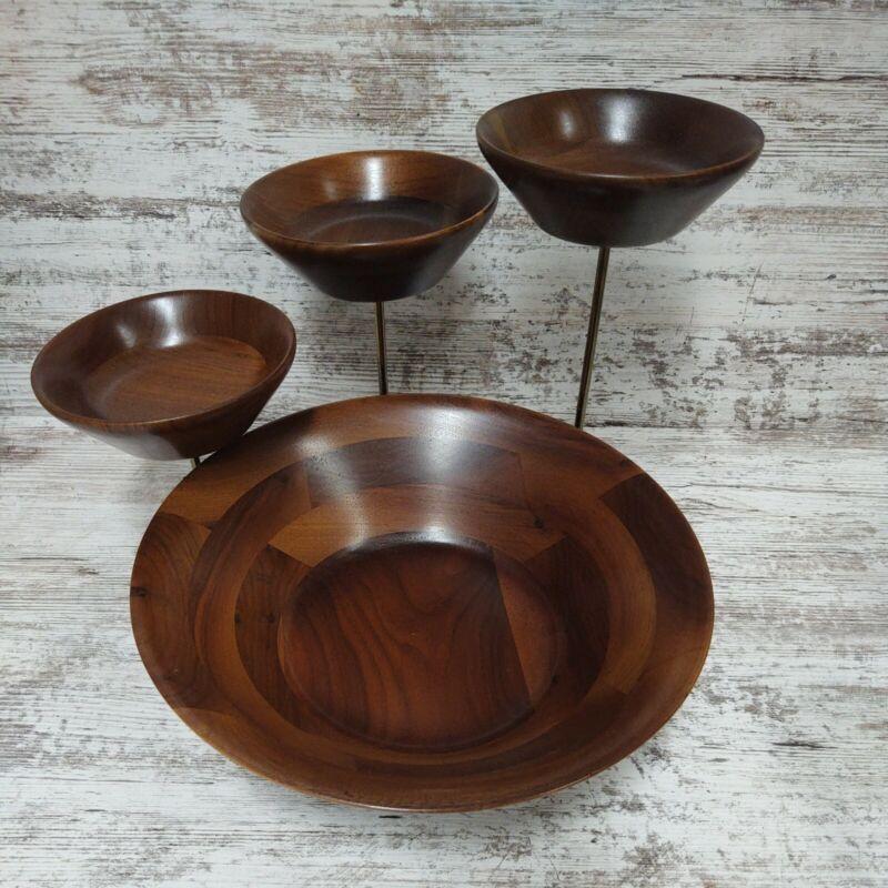 🌟Vtg.Mid-century Modern Fitzhugh 3 Tiered Serving Solid Walnut Snack Bowl