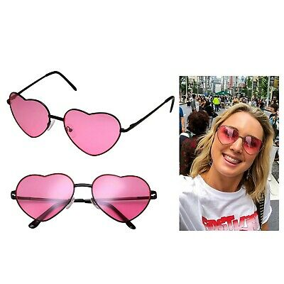 Pink Tinted Sunglasses Womens Heart Shape Festival Lolita Party Eyewear (Heart Glasses Pink)