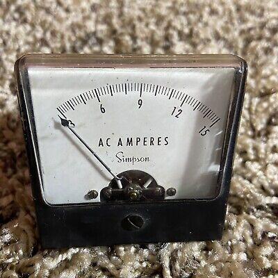 Vintage Simpson Ac Amperes 3-15 Panel Meter