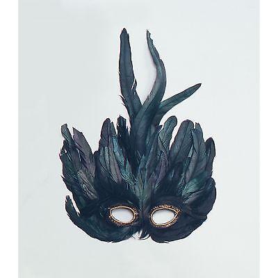 MASQUERADE BLACK RAVEN FEATHER EYE MASK - womens ladies fancy dress accessory - Raven Masquerade Mask