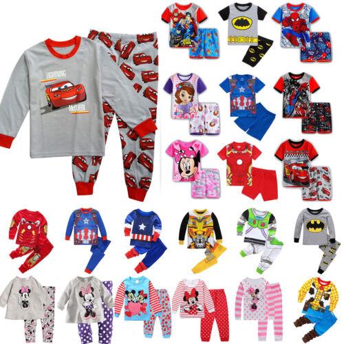 Jungen Mädchen Kinder Pyjama Nachtwäsche Schlafanzug Sleepwear Tops Hose Outfits