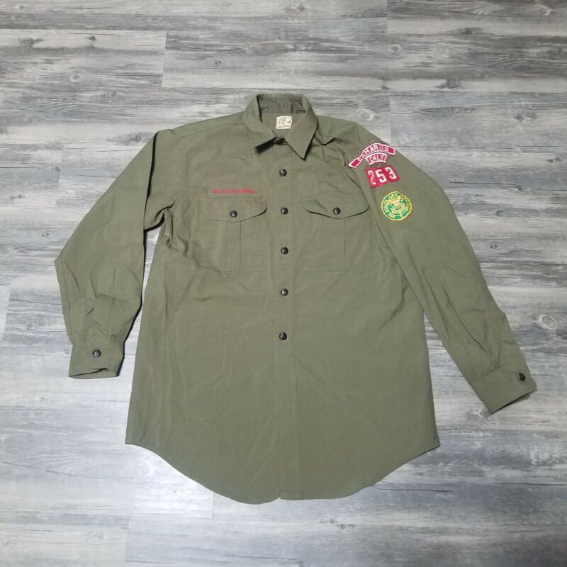 Vintage Boy Scouts Of America Button Up Shirt Patches Camarillo CA Size Medium