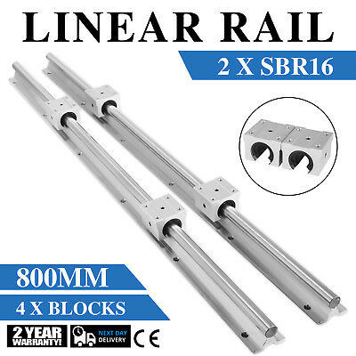 Sbr16-800mm 2x Linear Rail Set 4x Bearing Block Shaft Rod Smooth Sliding 16mm