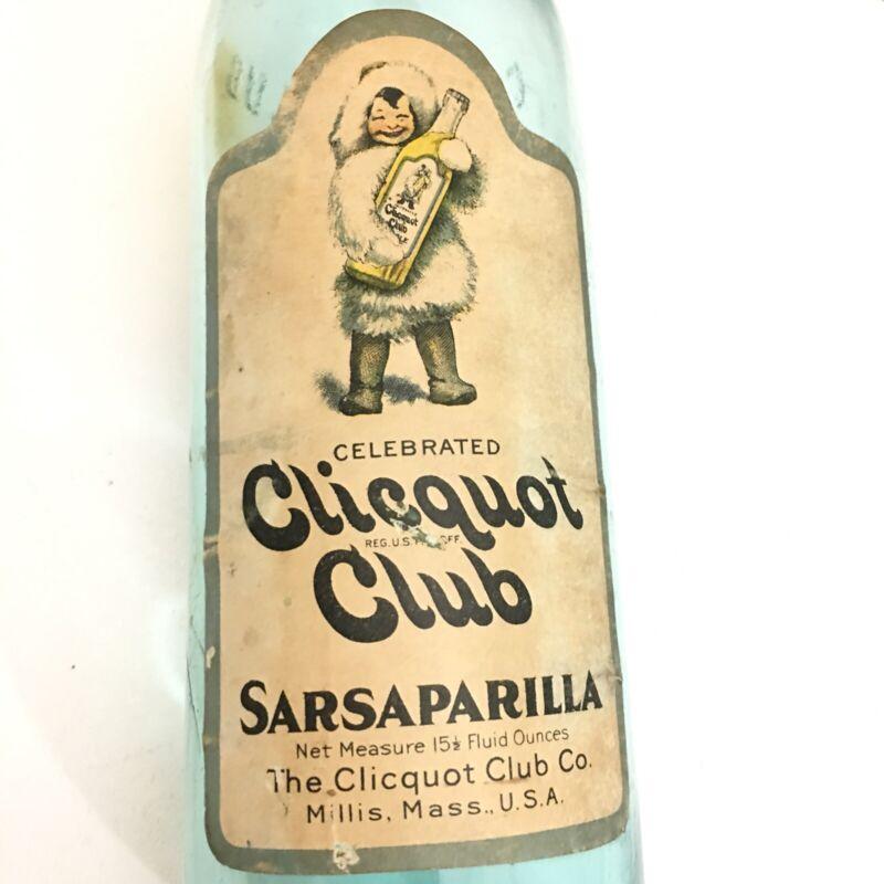 RARE Vintage c.1910  CLICQUOT CLUB, Sarsaparilla Bottle, Eskimo Paper Label