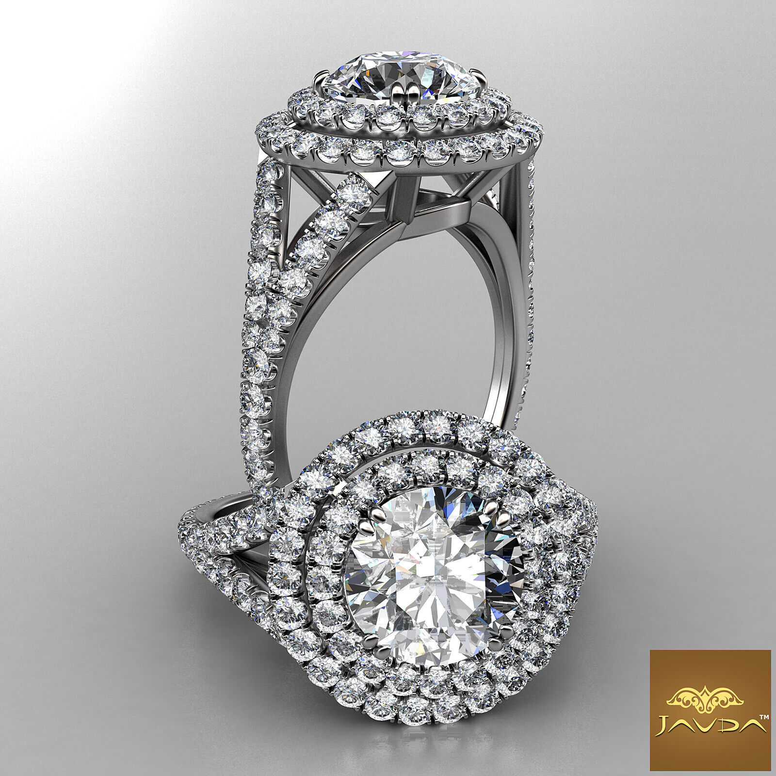 3.24ctw Double Halo Split Shank Round Diamond  Engagement Ring GIA H-SI1 w Gold